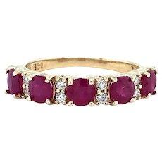 Effy Ruby Royale Diamond Ring 14k Yellow Gold Size 6.5