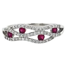 Zeghani 14k White Gold Ruby and Diamond Wave Ring Size 6.5
