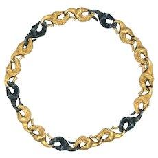 "Carrera y Carrera 18k Yellow Gold Vintage Horse Link Bracelet  8.75"""