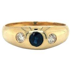 14k Yellow Gold Vintage Sapphire and Diamond Burnish Set Ring Size 6.25