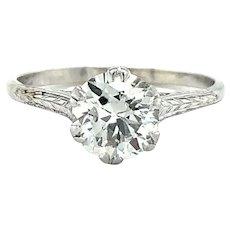 Vintage Art Deco 1.05ct European Cut Diamond Solitaire Ring 14k White Gold
