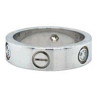 Cartier 18k White Gold Three Diamond Love Ring Band Size 7