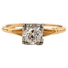 14k Yellow Gold .53ct Vintage Art Deco European Cut Diamond Engagement Size 5.5