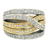 18k Yellow White Gold Two Tone Diamond Crossover Ribbon Ring Band Size 6.75