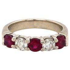 14k White Gold Diamond and Ruby Wedding Band Ring Size 4.75
