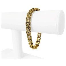 "Cartier Vintage 18k Yellow Gold 52.4g Double Circle Link Charm Bracelet 7.5"""