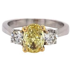 18k Gold .92ct Fancy Intense Yellow Oval Diamond 3 Stone Ring Size 6.75 GIA