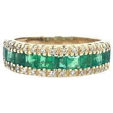Effy 14k Yellow Gold Vintage Emerald and Diamond Brasilica Band Ring Size 7