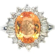 Imperial Golden Topaz and Diamond Halo Cocktail Ring Platinum Size 6.75