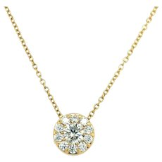 Hearts on Fire 18k Yellow Gold 1cttw Diamond Halo Fulfillment Necklace