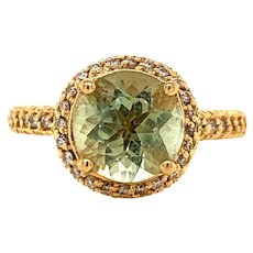 Sonia B. Bitton 14k Yellow Gold Green Amethyst Ring Size 5.75