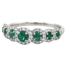 Zeghani Emerald and Diamond Halo Band Ring 14k White Gold Size 6.5