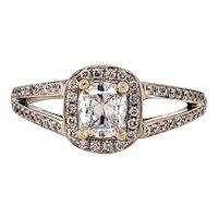 Henri Daussi 18k White Gold Diamond Cushion Cut Engagement Ring Size 6.5