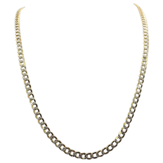 10k Gold Two Tone Diamond Cut 5.5mm Curb Chain Necklace 30 Inches