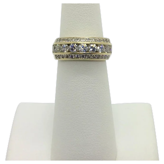 14k Yellow Gold Tiered Cubic Zirconia Encrusted Graduated Ring Band Size 5