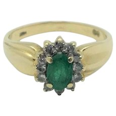14k Yellow Gold Emerald and Diamonds Halo Ring Size 8
