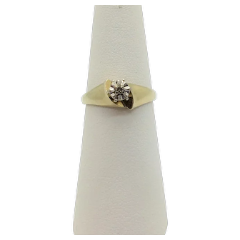 10k Yellow Gold Vintage Round Cut Diamond Ring Size 5.5