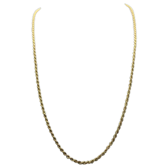 14k Yellow Gold Solid Rope Chain Necklace 24 Inches