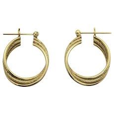 14k Yellow Gold Vintage Three Hoop Twisted Rope Earrings