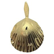 14k Solid Yellow Gold Diamond Cut Seashell Pendant Charm