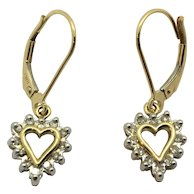 10k Yellow Gold Diamonds Heart Shaped Dangle Drop Leverback Earrings