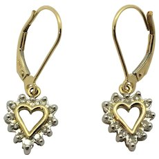 10k Yellow Gold Diamonds Heart Shaped Dangle Drop Leverback Earrings