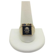 10k Yellow Gold and Onyx FLT Odd Fellows Ring Size 12