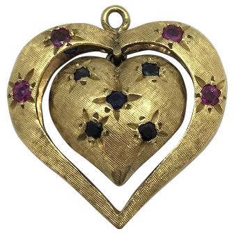 14k Gold Charm Bracelet with Vintage Sapphire and Ruby Heart Charm 7.5 Inches