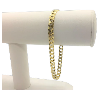 14k Solid Yellow Gold Curb Link Chain Bracelet Italy 8 Inches