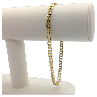 14k Solid Yellow Gold Figure 8 Curb Link Chain Bracelet Italy 9 Inches