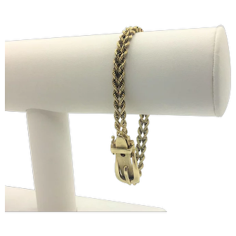 14k Solid Yellow Gold Vintage Double Rope Belt Buckle Bracelet 7 Inches
