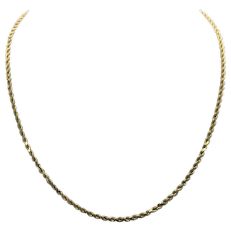 14k Solid Yellow Gold Diamond Cut Rope Chain Necklace 18 Inches
