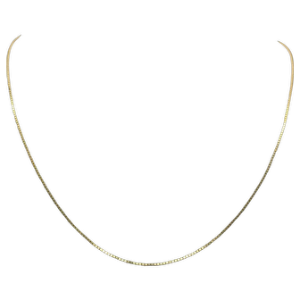 14k Solid Yellow Gold Box Square Link Chain Necklace Italy 20.5 Inches