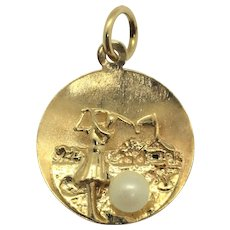 14k Yellow Gold and Pearl Vintage Women's Golf Charm 1959