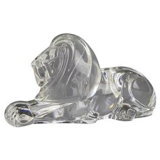 Steuben Rare Large Crystal Recumbent Lion Sculpture