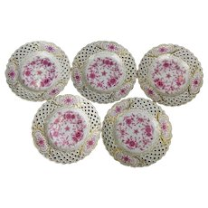 Meissen Set of 5 Reticulated Purple Indian Plates
