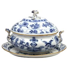 Large Meissen Blue Onion Tureen with Underplate and Gilt Accents
