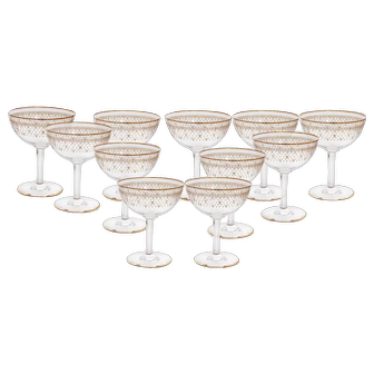 Spectacular Gilt Baccarat Set of 11 Champagne Glasses with Fleur d' Lys Pattern