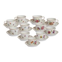 Set of 11 Dresden Floral Cups and Saucers
