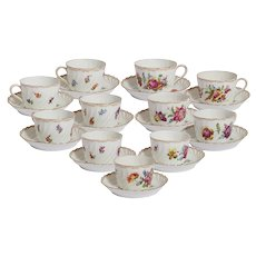 Set of 11 Dresden Floral Cups and Saucers- Carl Thieme