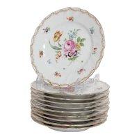 Set of 10 Dresden, Richard Klemm Salad Plates in Empress Rose Pattern
