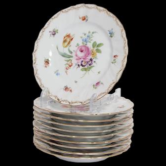 Set of 7 Dresden, Richard Klemm Bread Plates in Empress Rose Pattern