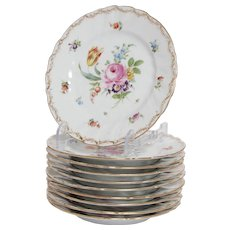 Set of 7 Dresden, Richard Klemm Salad Plates in Empress Rose Pattern