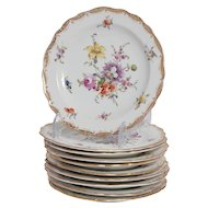 Set of 10 Meissen Bread Plates in Empress Rose Pattern