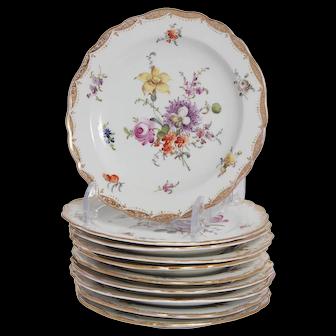 Set of 10 Meissen Bread Plates in Empress Rose Pattern