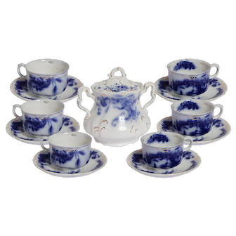 Wentworth by  J& G Meakin  Flow Blue  Set of 6 Tea Cups with Saucers  and Sugar Bowl with Lid