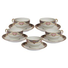 Set of 5 Limoges Tea Cups with Saucers