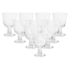 Set of 10 Steuben Air Twist Glasses with boxes and bags.