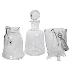 Set of 3 Baccarat Etched Crystal Service Pieces