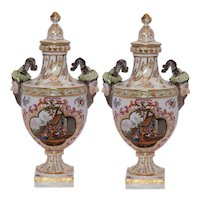 Pair of Helena Wolfsohn Dresden Urns